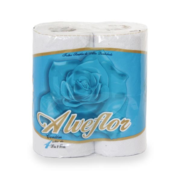 Papel Higienico - 8x600 Mts - Branco - Alveflor
